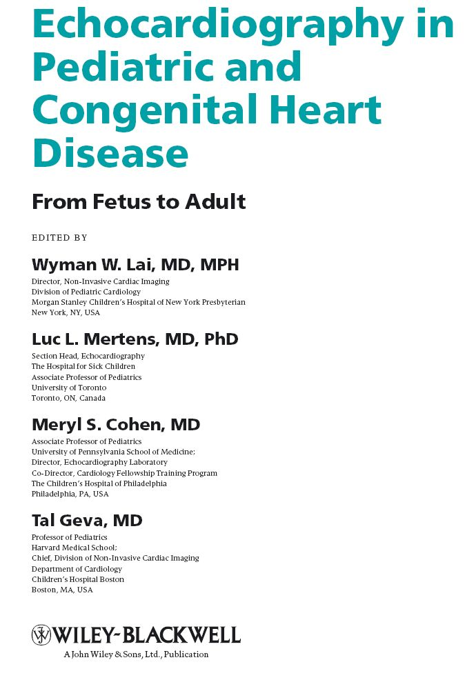 Echocardiography in Pediatric and Congenital Heart Disease