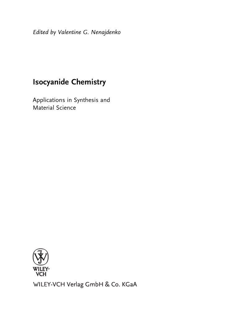 Isocyanide Chemistry Book